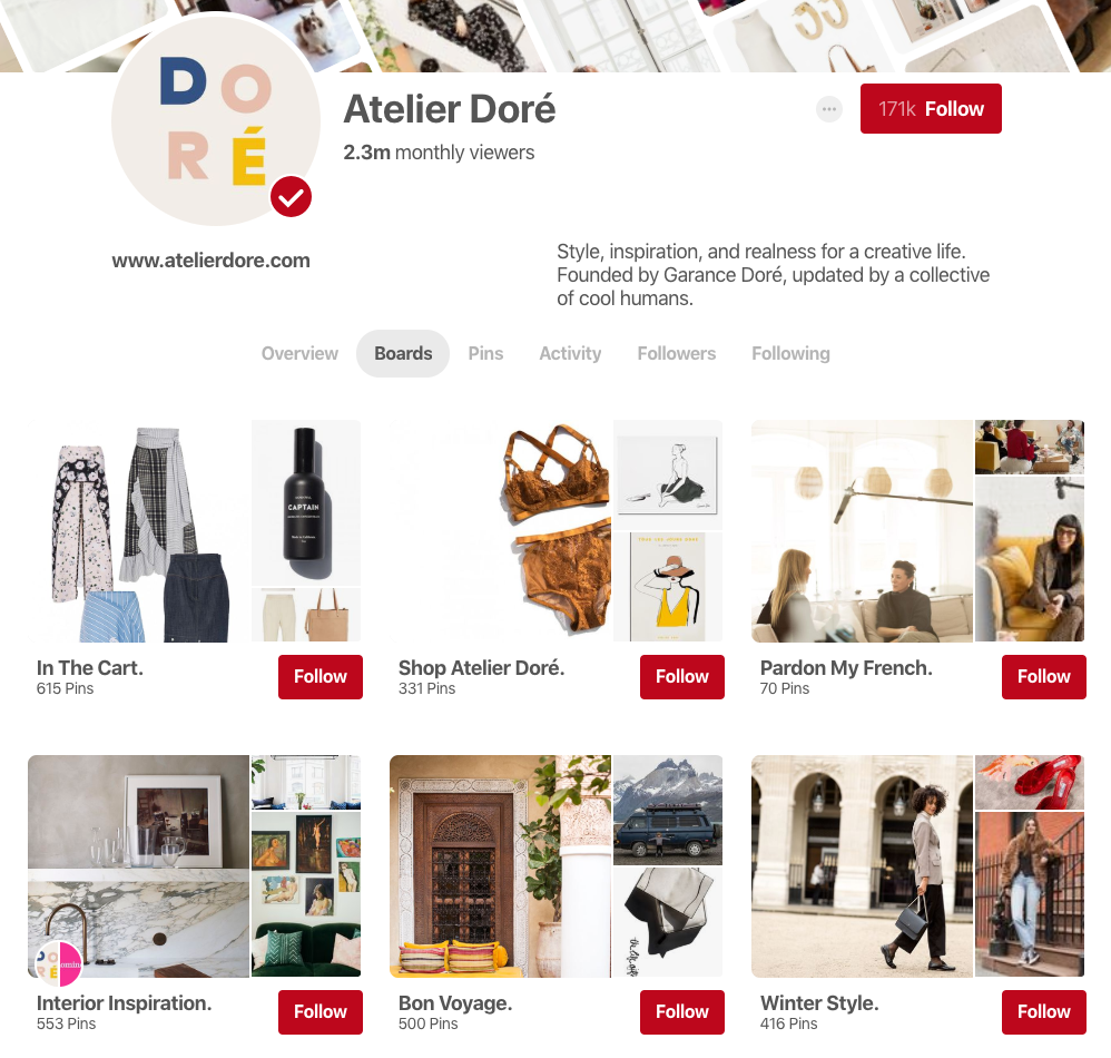 Pinterest Business Page Example